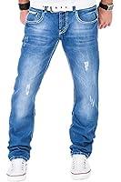 Tazzio Herren Jeans dicke Naht Clubwear Hose Cargo Style Hellblau / W29 - W38 / L30 L32 L34
