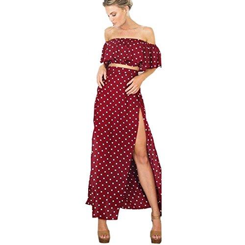 kleid damen Kolylong® 1 Set Frauen elegant aus Schulter Punkt gedruckt ärmellosen langen Kleid Party Kleid Strandkleid Abendkleid Böhmisches kleid (S, Rot)