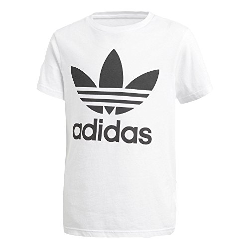 Adidas trefoil - maglietta bambini, bianco/nero, 13-14 anni (164 eu)