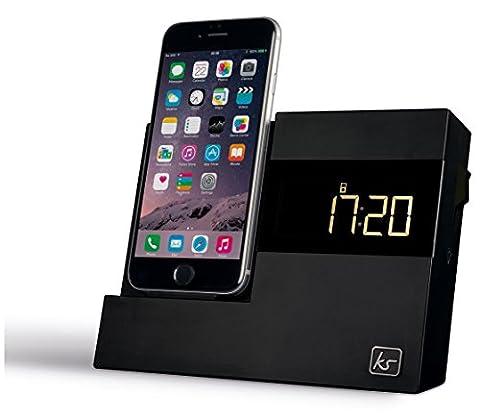 KitSound XDOCK 3 Radio Réveil Alarme avec Station d'Accueil et Connecteur Lightning pour iPhone 6/6s/7/Touch 5 - Livré avec Prise UK -