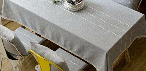WFLJL Nappe American Style Coton et Lin Couleur Art 24 Stripe Table à Manger Table Basse Dentelle Gris 130 * 230cm