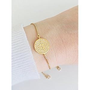 KAAYAH Damen Textilarmband verstellbar mit goldenem Glitzer-Charm