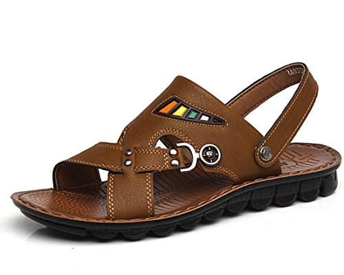 Men's Genuine Leather Casual Sandals Kaki