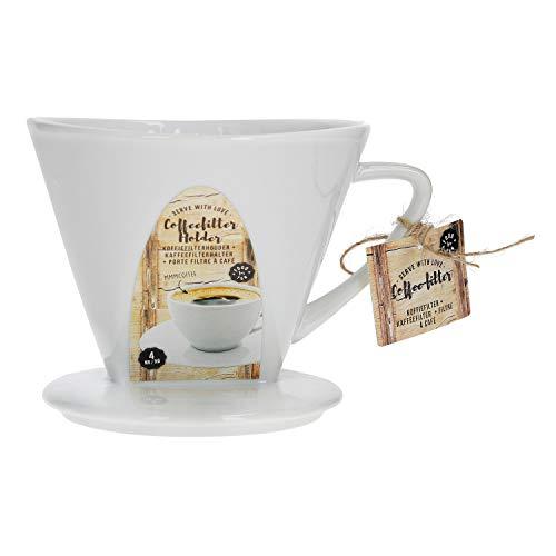 MamboCat Kaffeefilter No. 4 aus Porzellan | 16 x 14 x 11 cm | weiß | SoftBrew-Verfahren | schonende Kaffee-Zubereitung | manuelles Filter-Gerät (Porzellan-kaffee-filter)