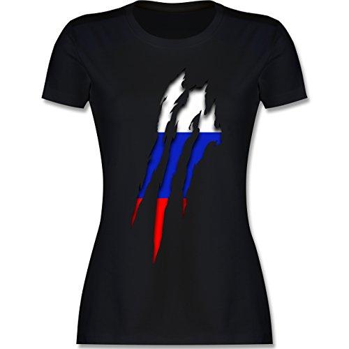 Länder - Russland Krallenspuren - S - Schwarz - L191 - Damen Tshirt und Frauen T-Shirt