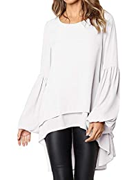 Vectry Rebajas Camiseta Mujer Camiseta Asimétrica Camiseta Lisa Camiseta con Manga Larga Blusa De Moda Camiseta para Primavera Y Otoño