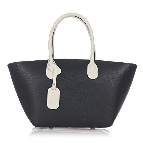 Laura Moretti - Zweifarbige Ledertasche mit Reißverschluss (Handtasche Zweifarbige Satchel)