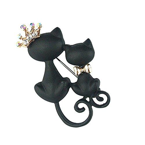 Ruikey Broche Creativo único Broche Negro Doble Gato Broches para Vestidos de Fiesta 4.3 * 2.7cm