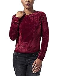 Urban Classics Damen Sweatshirt Ladies Short Velvet Crew