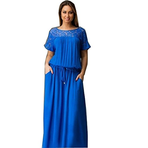 BigForest Damen elegant scoop neck with lace back with split long party cocktail boho dress Ball Gown Scoop Neck