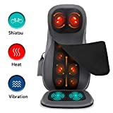 Naipo Shiatsu Back Massager Seat Massage Chair Pad Hip Back Neck Massager Pain Relief with Adjustable Heat Vibrating Functions 3 Massage Zones for Home Office and Car