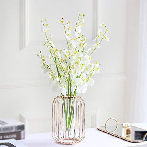 TAOtTAO Nordic Minimalist Eisen Geometrische Kurze Vase Blumenständer Ornamente Nordic Light Schmiedeeisen Vase Glas Reaktionsrohr Wasserblume