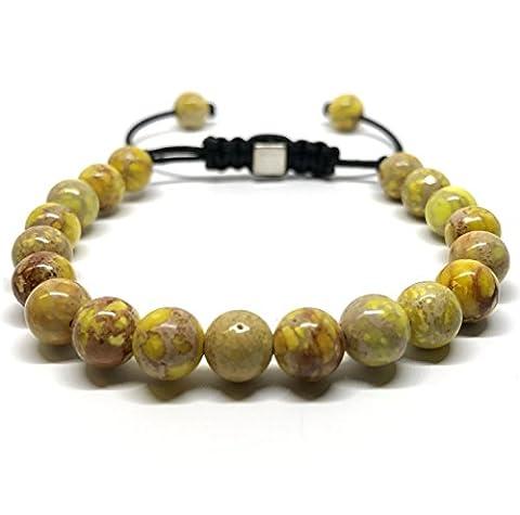 GOOD.designs Shamballa Bracelet en perles à partir de sédiments marins/pierres précieuses en jade., jaune