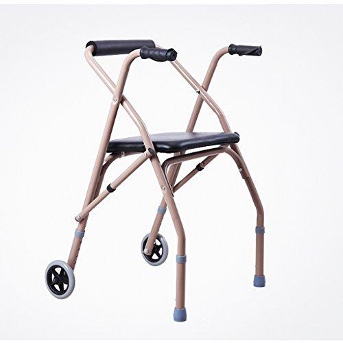 MXueei camminatore ZfgG Walker Anziani disabili a Quattro Zampe di Canna con puleggia di Seduta Pieghevole