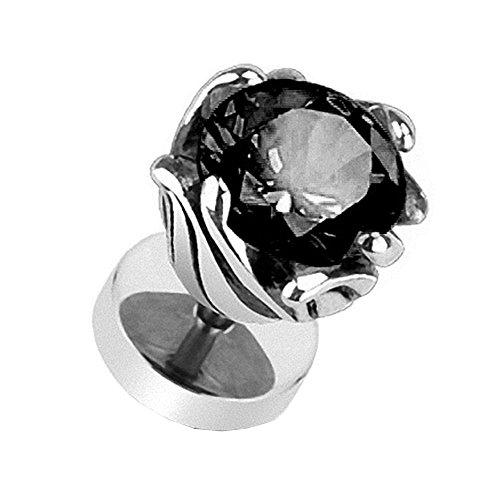 Piercingfaktor Runde Ohrring Ohrstecker Fake Piercing Ohr Plug Flesh Tunnel Ohrpiercing Platte Stecker mit Kristall Zirkonia Strass Blume Silber Schwarz