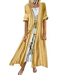 Womens Vintage Cotton Linen Dress Plus Size Ethnic Floral Printed Two Pieces Maxi Dresses Summer Long Gown Kaftans Plain Long Sleeve Top Boho Beach Sleeveless Sundress