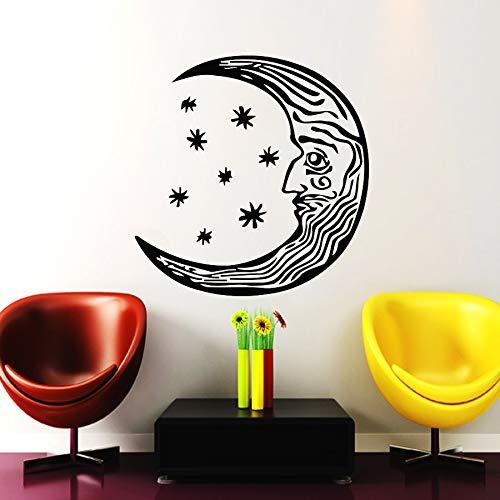 jiuyaomai Halbmond Wandtattoo Ethnischen Stil Wohnzimmer Vinyl Spezielle Gesicht Design Wandaufkleber Abnehmbare Kunstwand Symbol Decor 57x57 cm