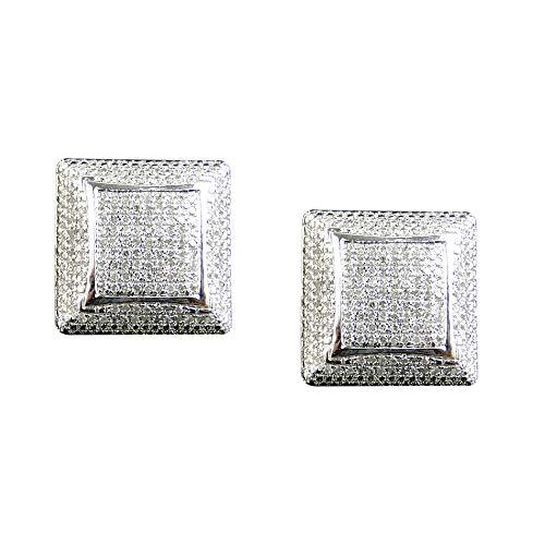 Aretes de oro blanco de 10K chapados en plata esterlina con forma de c