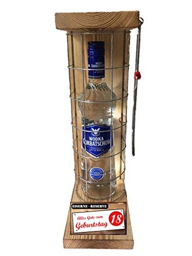 """""""Alles Gute zum 18 Geburtstag"""" Die Eiserne Reserve mit einer Flasche Wodka Gorbatschow 0,70L incl. Bügelsäge zum aufschneiden des Metallgitters – Das ausgefallenes witziges"""
