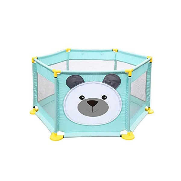 Baby Playpen Activity Centre Children Safety Fence Play Yard Game Playpen Fence for Home Indoor Outdoor Playing Per Material: ABS corner PVC connector Oxford cloth Mesh Size: height 65cm/25.59inch, length 142cm/55.9inch Age: 5 months to 3 years old 1