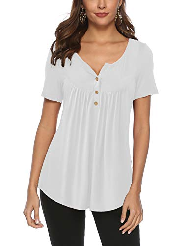 FeelinGirl Mujer Camisetas Sólido de Manga Corta Tops Suave con Botones Blusa Casual Verano Negro L:Talla...