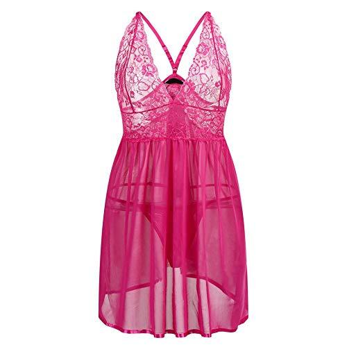 (Pink Plus Size Sexy Bodydoll Sexy Unterwäsche Erotische Kostüme Offene Dessous String Zurück Nachtwäsche Sexy Babydoll-Bloße Größe, Pink, 5XL)
