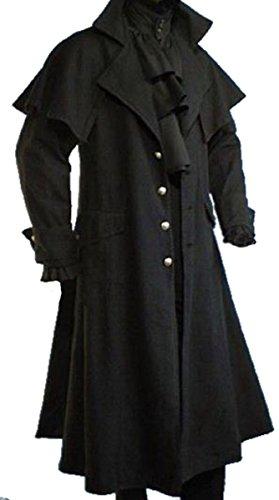 Dark Dreams Gothic Mittelalter LARP Mantel Vampir Kutscher Coat Jacke van Helsing schwarz (Achtung fällt eine Nummer kleiner als üblich aus!), Farbe:schwarz, (Kostüm Helsing Erwachsene Van)