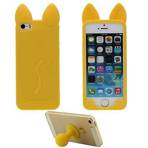 Pour iPhone SE iPhone 5S 3D Charmant Chat Forme Silicone Gel TPU Doux Slim Ultra Fine Coque Case Etui de Protection pour Apple iPhone 5 5S SE 5G ( Rouge ) avec 1 Silicone Titulaire Kickstand jaune