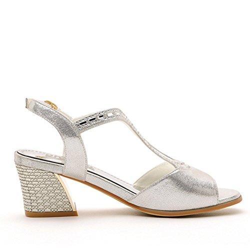 Damen Sommer Runde Fischkopf Zehen Metallfarbe Oberflächematerial mit Pailette Blockabsatz Niedrige Ferse Pumps Sandalen Silber