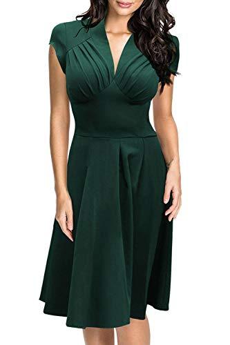 MisShow Robe Femme Courte Demoiselle d'honneur Vintage année 1940s 50s Robe de Soirée avec Ruches Mi Lognue Swing Elégante XL
