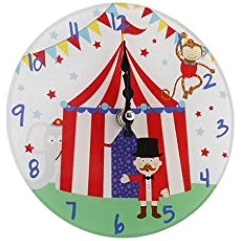 Piccolo in vetro, Orologio da parete per bambini, motivo circo