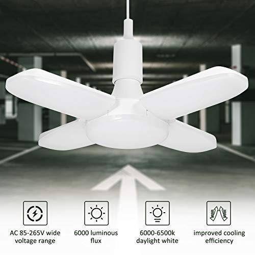 Éclairage de garage à LED, Tomshine 60W E26/ E27 6500K 6000Lm Lampe d'atelier, déformable à 4...