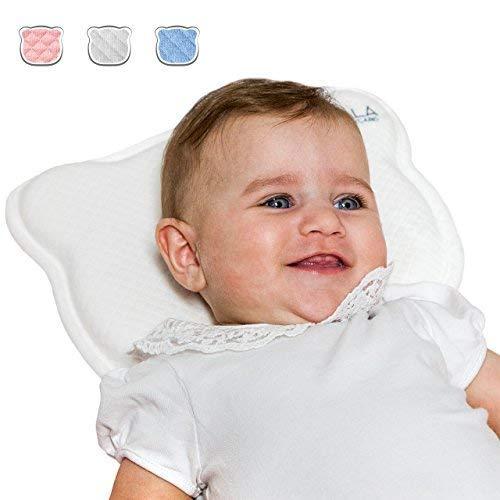 Koala Babycare® Cuscino Neonato Plagiocefalia Sfoderabile (con due Federe) per la Prevenzione e Cura della Testa Piatta in Memory Foam Antisoffoco - Koala Perfect Head Bianco