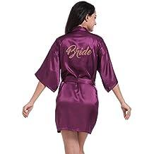 Rawdah Pijama de seda corto puro del traje del Kimono de las mujeres para el banquete de boda de la novia