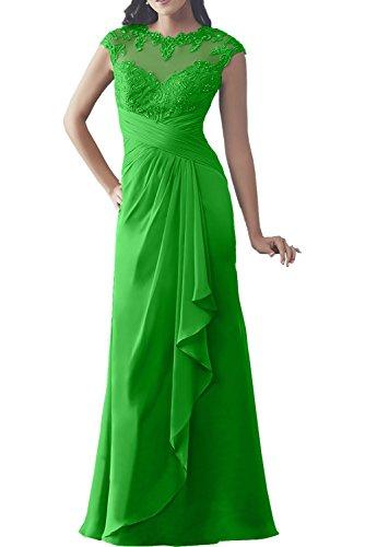 Charmant Damen Champagner langarm Spitze langes Abendkleider Ballkleider Brautmutterkleider Etuikleider Grün
