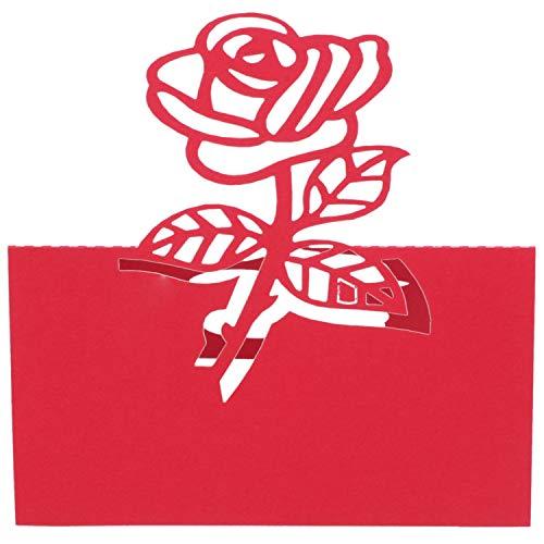 TOOGOO 60x Rose Papier Hochzeit Tisch Nummern Tisch Karte Begleiten Namen Karten FüR Hochzeit Dekoration Rot