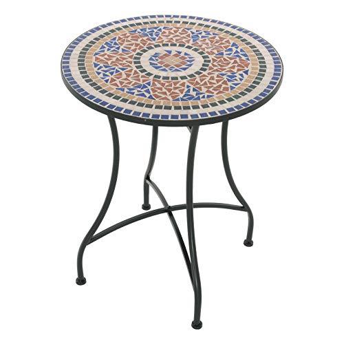 MACOShopde by MACO Möbel Mosaik Gartentisch Mosaiktisch GEA rund ø 60 Balkon/Terrassen-Tisch mit einzigartigem Muster Mehrfarbig Stahl