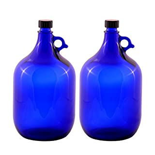 Glass balloon Bottle Gallon Blue glass Bottle 2 Liter or 5 Liter Screw cap Synthetic black - Henk eleven tab blue glass, ideal for Aquadea Crystal - Swirl Water, Two Litre or Five Litre - 2 x 5 Liter