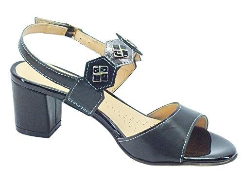 Sandalo Melluso Woman elegante nero con dettagli grigio e tacco medio Nero
