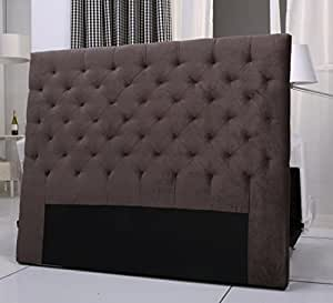 tete de lit capitonnee king 140 160cm velours marron. Black Bedroom Furniture Sets. Home Design Ideas