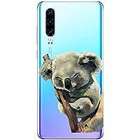 Oihxse Compatible con Huawei Mate 20 Funda Cristal Silicona TPU Suave Ultra-Delgado Protector Estuche Creativa Patrón Protector Anti-Choque Carcasa Cover(Pereza A6)
