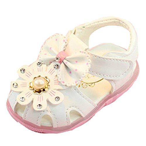 Ohmais Enfants Chaussure Bebe Garcon Fille Premier Pas Chaussure premier pas bébé Sandale Blanc