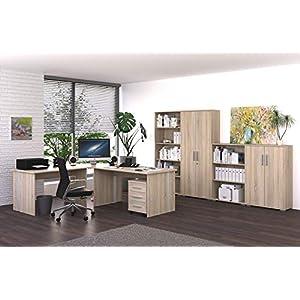 Möbel Pracht Phönix Bürozimmer, Büro-Set, Arbeitszimmer, Büromöbel, Sonoma-Eiche, Komplettset 8-Teilig