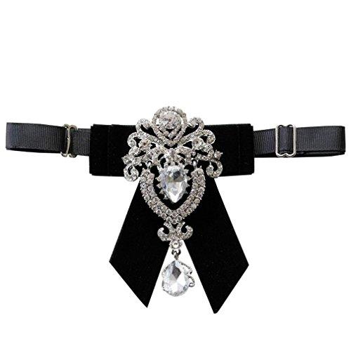 GoGou Männer-Strass Einstellbare Pre-Tied Fliege (black) (Tuxedo Männer Prom)