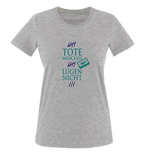 Comedy Shirts - Tote Mädchen lügen nicht - MOTIV 1 - Damen T-Shirt - Graumeliert / Türkis-Lila Gr. XL