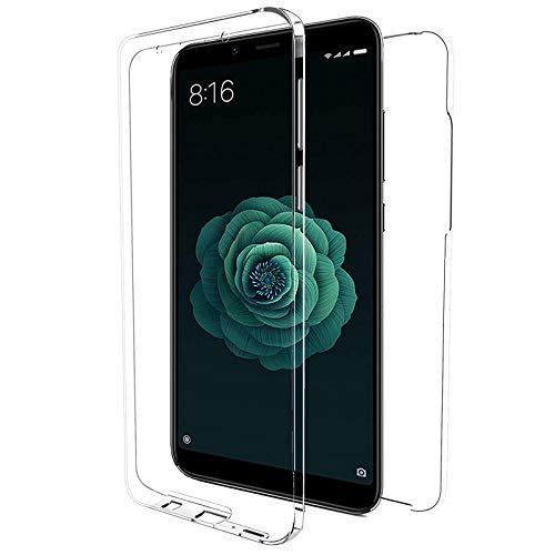 """TBOC Funda para Xiaomi Redmi 6 - Redmi 6A (5.45"""") - Carcasa [Transparente] Completa [Silicona TPU] Doble Cara [360 Grados] Protección Integral Total Delantera Trasera Lateral Móvil Resistente Golpes"""