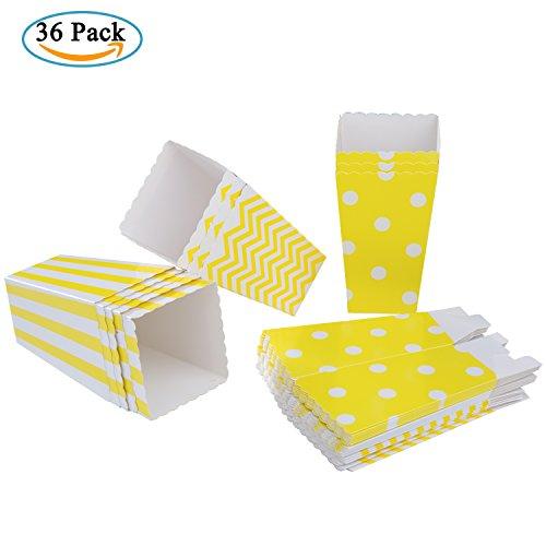 les 36 Stück Popcorn Tüte Popcorn Candy Boxen Behälter für Party Snacks, Süßigkeiten, Popcorn und Geschenke - Gelb (Party Popcorn)