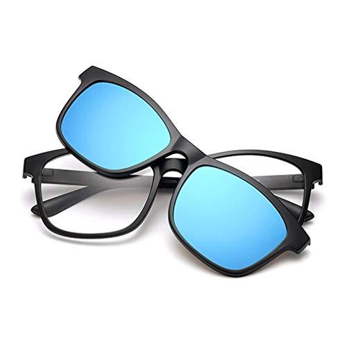KUNER 2-in-1 Polarisiert Hochklappen Magnetisch Sonnenbrillen aufclipsen & Brille Drinnen draußen UV-Schutz TR90 Rahmen (K5SM_BlueMirror)