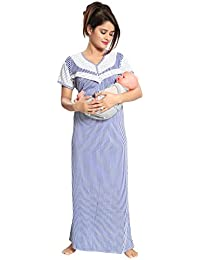 "Fabme Women's Striped Printed Maternity/Feeding/Nursing Nighty - (Bust Size 38"" / Large Size)"