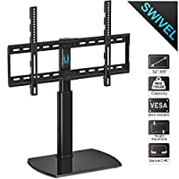 FITUEYES Universal Tabletop TV Stand fit 32 to 65 Inch TVs with Swivel and Height Adjustable Mount TT107002GB